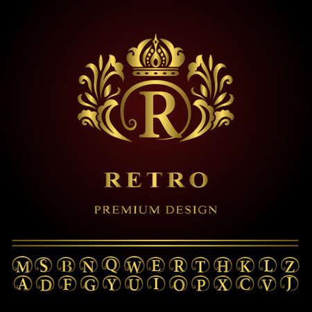 Vector illustration of Monogram design elements, graceful template. Elegant line art logo design. Business gold emblem letter R for Restaurant, Royalty, Boutique, Cafe, Hotel, Heraldic, Jewelry, Fashion