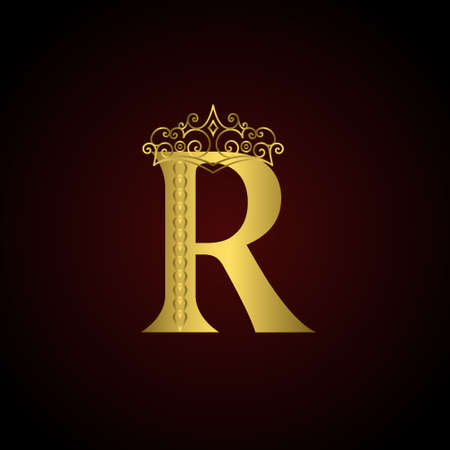 Vector illustration of Gold emblem letter R with crown. Monogram design elements. Elegant line art logo design. Business sign for Restaurant, Royalty, Boutique, Cafe, Hotel, Heraldic, Jewelry, Fashion