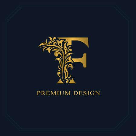 Illustration for Gold Elegant letter F. Graceful style. Calligraphic beautiful logo. Vintage drawn emblem for book design, brand name, business card, Restaurant, Boutique, Hotel. Vector illustration - Royalty Free Image
