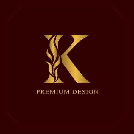 Ilustración de Gold Elegant letter K. Graceful style. Calligraphic beautiful logo. Vintage drawn emblem for book design, brand name, business card, Restaurant, Boutique, Hotel. Vector illustration - Imagen libre de derechos
