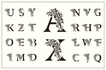 Ilustración de Set of Floral Capital Letters. Vintage Logos. Filigree Monograms. Beautiful Collection. English Alphabet. Simple Drawn Emblems. Graceful Style. Design of Calligraphic Insignia. Vector Illustration - Imagen libre de derechos
