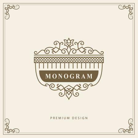 Illustration pour Vintage Ornament Greeting Card Vector Template. Retro Luxury Invitation, Royal Certificate. Flourishes frame. Vector Background - image libre de droit