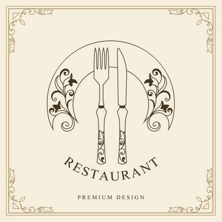 Illustration pour Luxury Template for Restaurant. Fork, Knife, and Plate with Flourishes Ornament. Elegant Linear Monogram with an Inscription. Creative Drawn Emblem. Calligraphic Border. Vector illustration - image libre de droit