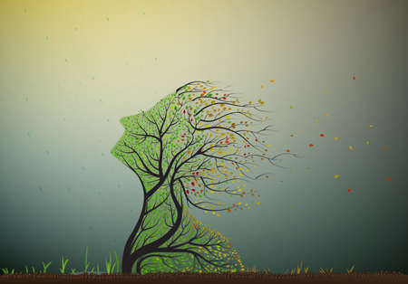 Illustration pour tree stretching his face to the last summer sun but autumn is coming and leaves start falling, tree soul, plant surrealism icon, - image libre de droit