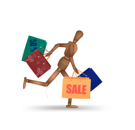 shopping addiction concept, marionette runs and holds many shopping bags, white background, modern man addiction series, vector