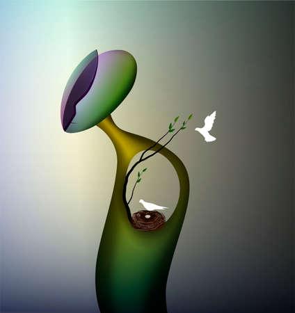 come back home concept, home memoriry inside, man shape with birds nest inside,