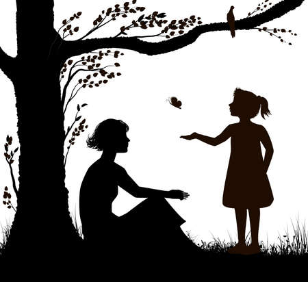 Illustration for mother and daughter silhouette, young woman is sitting under the tree and girl is trying to catch butterfly, family scenein hot summer day, summer memories, black and white, - Royalty Free Image