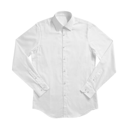 Photo pour White color formal shirt with button down collar isolated on white - image libre de droit
