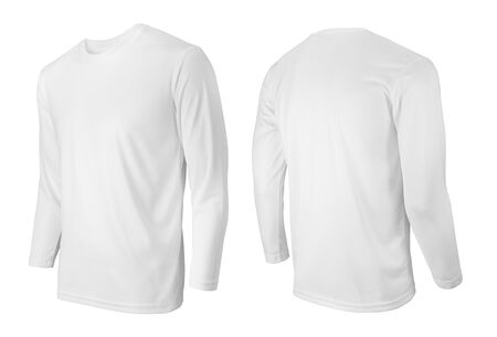 Photo pour Long sleeve white t-shirt front and back side view isolated on white - image libre de droit
