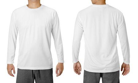 Foto de White Long Sleeved Shirt Design Template isolated on white - Imagen libre de derechos