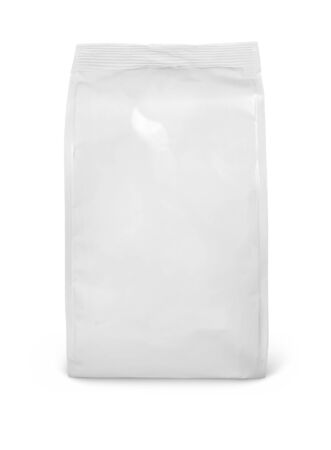 Photo pour Front view of blank snack paper bag package isolated on white - image libre de droit