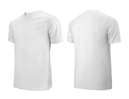Photo for White T-shirts front and back side view used as design template. - Royalty Free Image