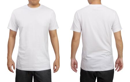 Photo pour White t-shirt on a young man isolated on white background. Front and back view. - image libre de droit