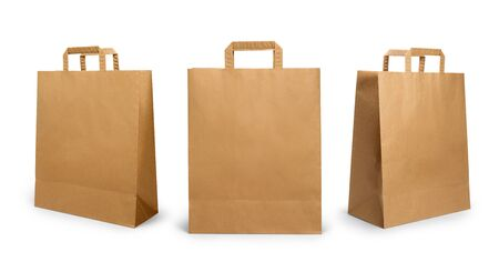 Foto de Folded paper bag with handle isolated on white background - Imagen libre de derechos
