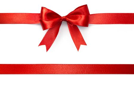 Photo pour Red ribbon with tails isolated on white background with clipping path - image libre de droit