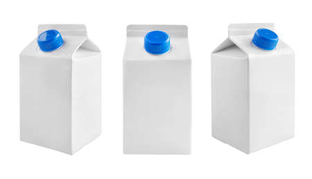 Foto für Juice and milk blank white carton boxes with different view isolated on white. - Lizenzfreies Bild