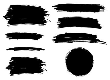 Illustration for Vector black paint brush spots, highlighter lines. Ink smudge abstract shape stains and smear set with texture - Royalty Free Image