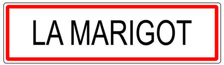 Le Marigot city traffic sign illustration in France