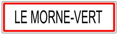 Le Morne Vert city traffic sign illustration in France