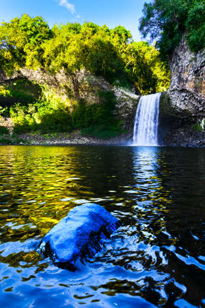 Waterfall of Bassin La Paix at Reunion Island during a sunny day