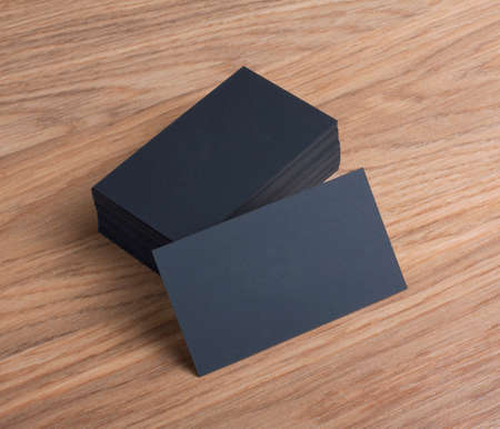 Foto de identity design, corporate templates, company style, blank business cards on a wooden background - Imagen libre de derechos