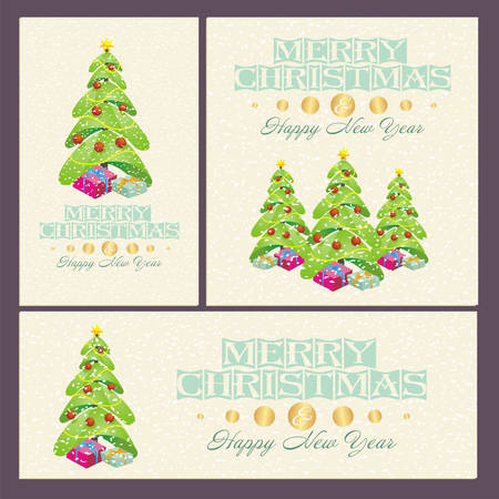 Christmas And New Year cards with  decorations, trees and gifts
