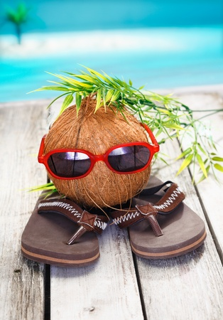 Photo for Humorous spoof of a cool coconut adventurer with a leafy hairstyle and trendy red sunglasses - Royalty Free Image