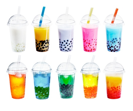 Different sorts of Boba Bubble Tea Cocktail. Standing in a row isolated on white background.