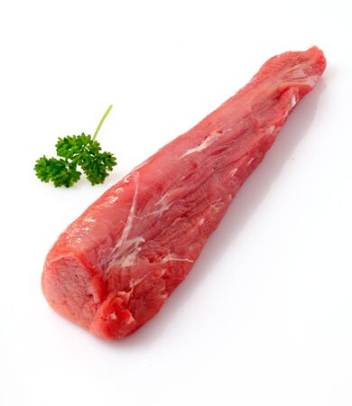 Raw fillet of pork. Tenderloin or sirloin isolated on white background