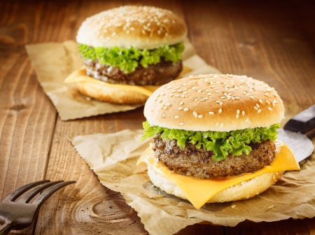 Two appetizing cheeseburger with meat, cheese and salad