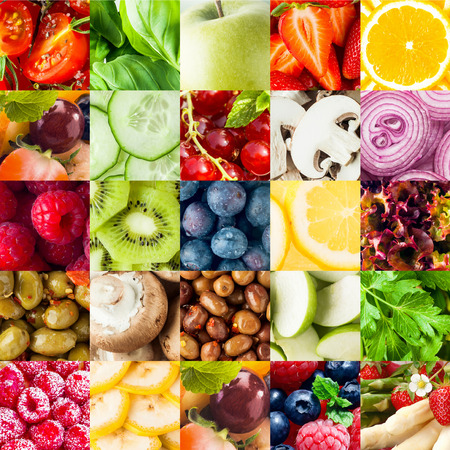 Colorful fruit and vegetable collage food background with assorted fall berries, basil, apple, orange, cucumber, mushroom, onion, olives, kiwifruit, banana, lettuce and parsley in square formatの写真素材