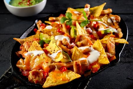 Close up view of chicken nacho tortilla with cream sauce