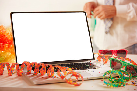 Photo pour Carnival at the office with an open empty notebook with copy space for creative ideas or advertising backgrounds - image libre de droit