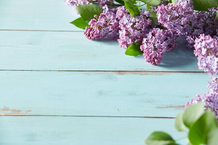 Photo pour Decorative spring background with purple lilac blossoms arranged in the corner over rustic light blue wood with copy space - image libre de droit