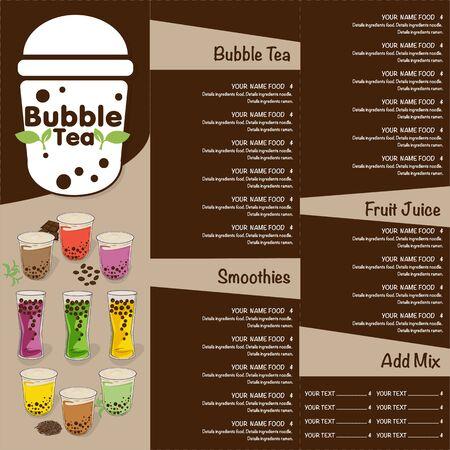 Illustration pour bubble tea menu graphic template - image libre de droit