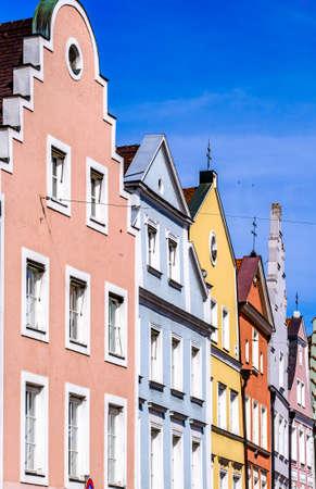 Photo pour historic gothic facades at the famous old town of Landshut - image libre de droit