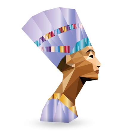 Egyptian Queen Nefertiti - vector illustration in low poly