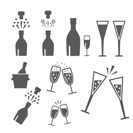 Illustration pour Champagne celebration. Open champagne bottle - image libre de droit