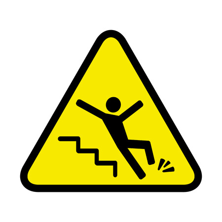 Illustration pour sign of danger of falling because of ice on the stairs - image libre de droit