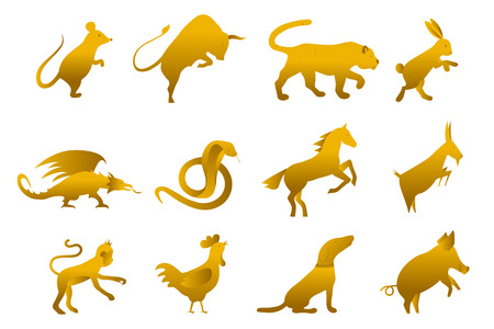 twelve golden chinese year lunar zodiac horoscope symbols. Zodiac china gold set. Silhouette animal vector illustration. Sparking golden sign isolated on white background