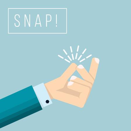 Illustration pour Businessman hand  with snapping finger gesture. Living easy business concept vector background. Gesture hand finger snap expression illustration - image libre de droit
