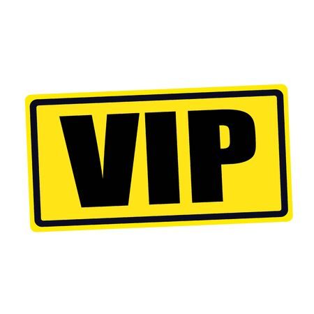 VIP black stamp text on yellow