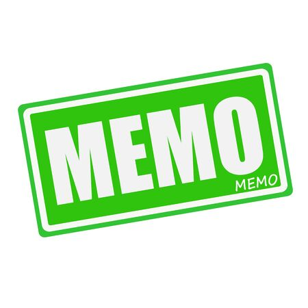 MEMO white stamp text on green