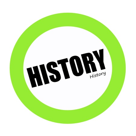 HISTORY black stamp text on green