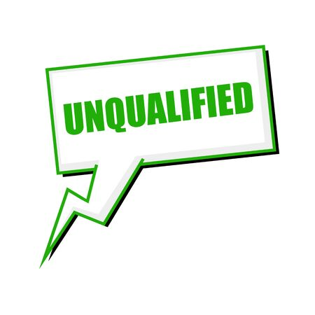 unqualified green stamp text on white Speech bubbles
