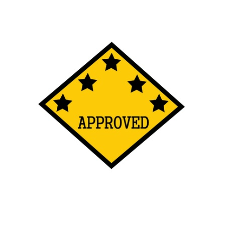 approved black stamp text on background yellow and star