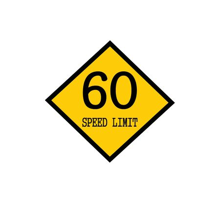 Speed limit 60 black stamp text on background yellow