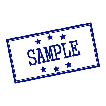 Sample blue-black stamp text on background white and star