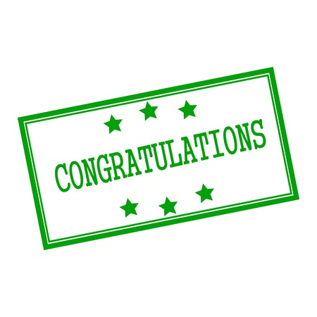 congratulations green stamp text on background white and star