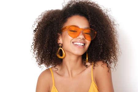 Photo for Smiling woman with orange eyeglasses. - Royalty Free Image